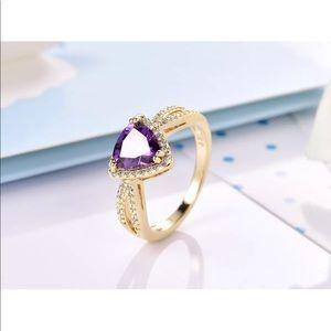18k amethyst /white sapphire ring